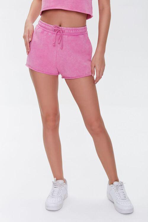 HOT PINK French Terry Drawstring Shorts, image 2