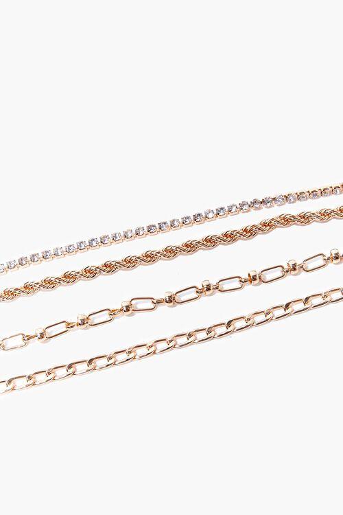 GOLD Rhinestone Chain Bracelet Set, image 1