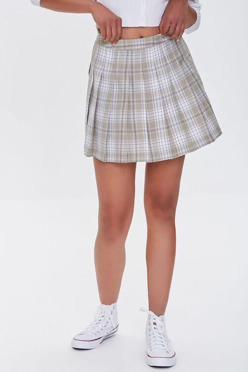 LIGHT GREEN/MULTI Pleated Plaid Mini Skirt, image 2
