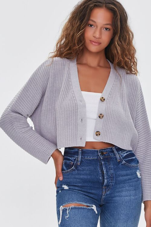 HEATHER GREY Ribbed Cropped Cardigan Sweater, image 1