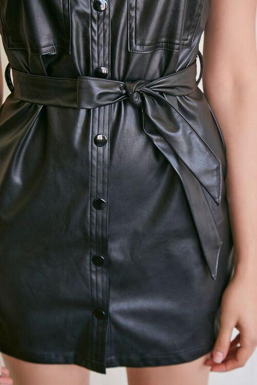BLACK Faux Leather Shirt Dress, image 5