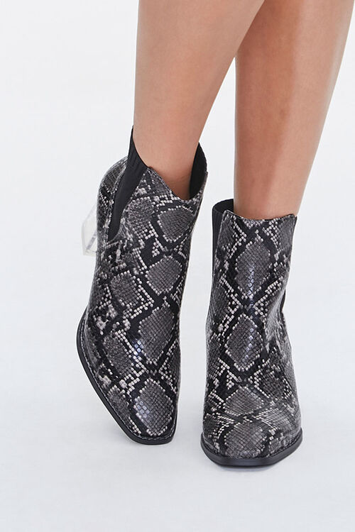 Faux Snakeskin Lucite Booties, image 4