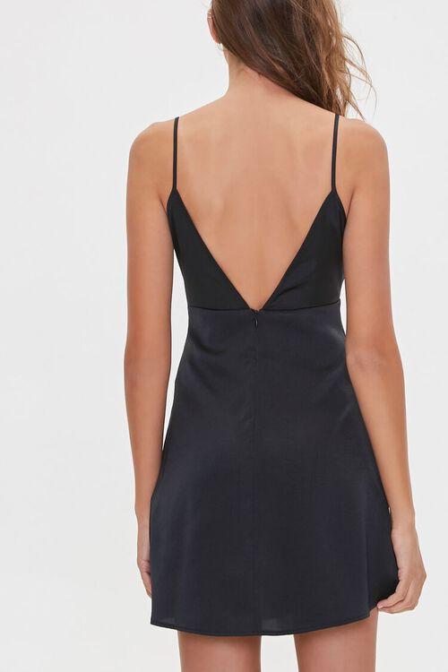 BLACK Satin V-Back Slip Dress, image 3