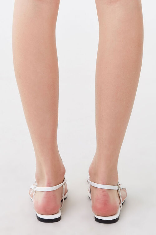 WHITE Strappy Flat Sandals, image 4