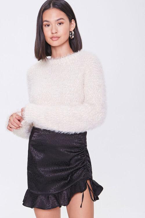 BLACK Satin Cheetah Print Mini Skirt, image 1