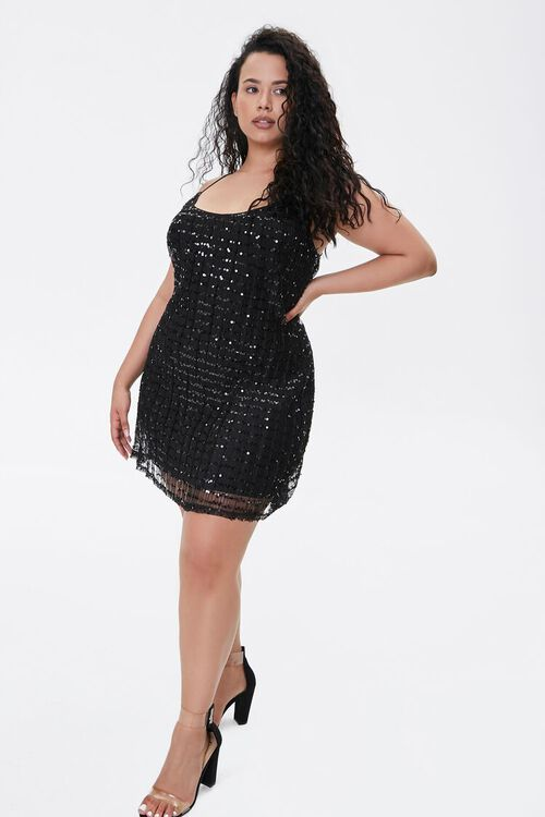 Plus Size Sequin Cami Mini Dress, image 1