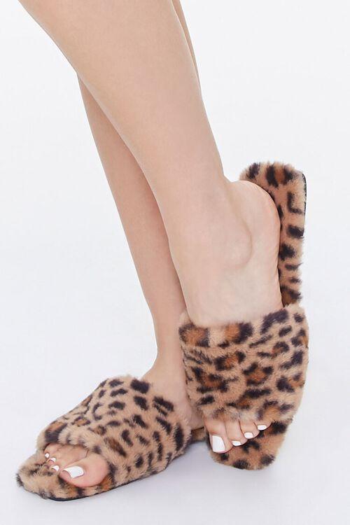Faux Fur Leopard Print Slippers, image 1