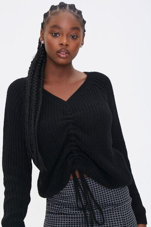 Ruched Drawstring Sweater, image 1