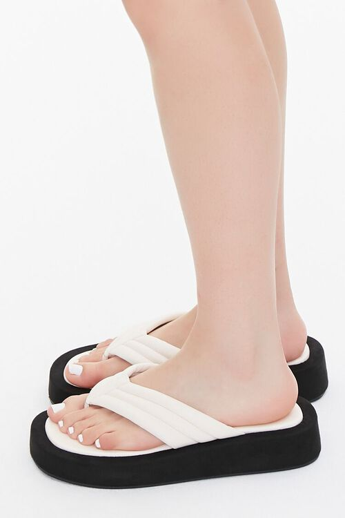 Quilted Thong-Toe Flatform Sandals, image 2