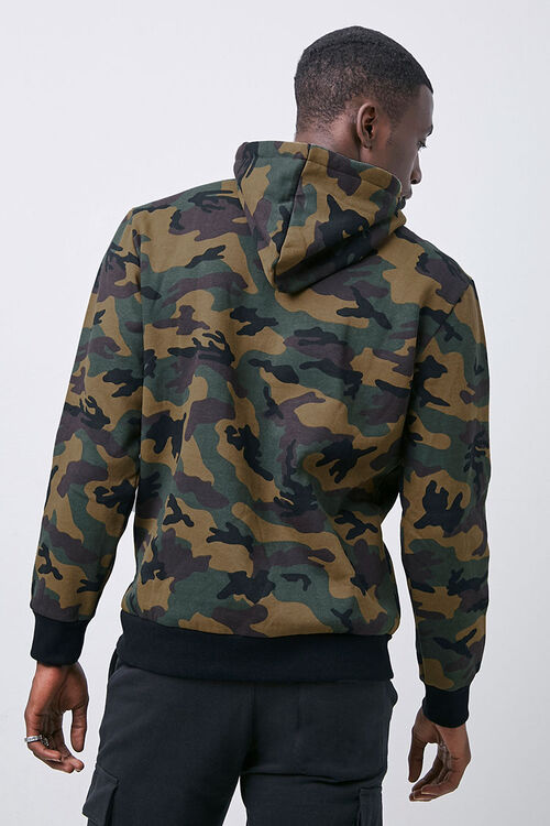 Camo Print Fleece Hoodie, image 3