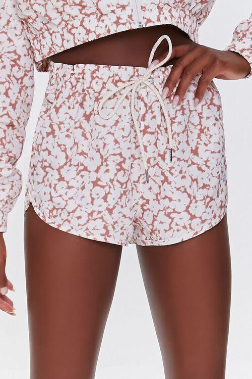 MAUVE/WHITE Active Floral Print Shorts, image 2