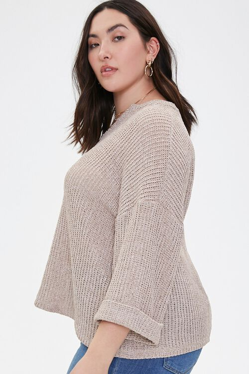 Plus Size Ribbed Marled Knit Top, image 2
