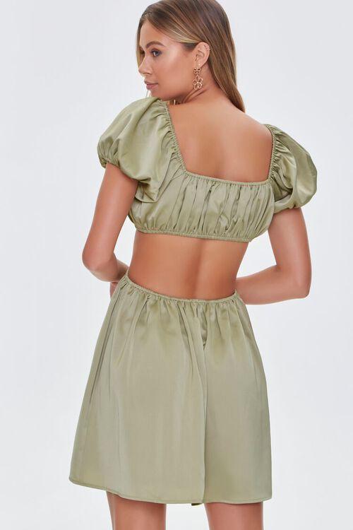 SAGE Satin Puff Sleeve Mini Dress, image 4