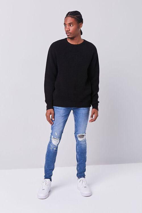 BLACK Ribbed Crew Neck Sweater, image 4