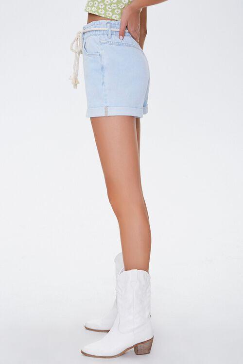 Rope Belt High-Rise Denim Shorts, image 3
