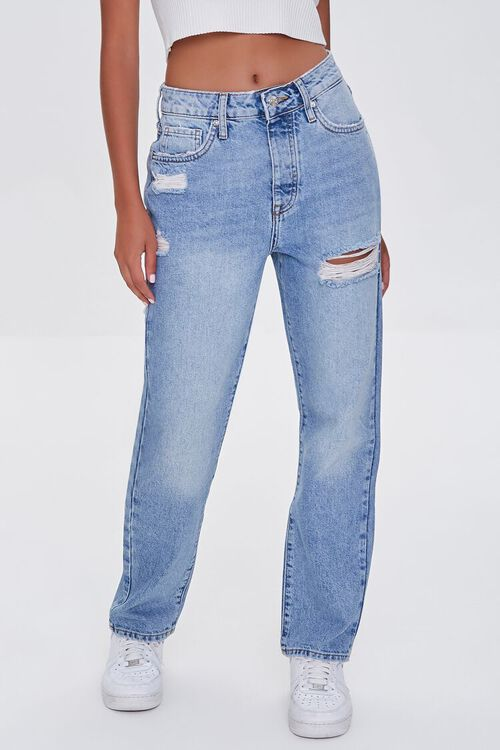 LIGHT DENIM Distressed Mom Jeans, image 2