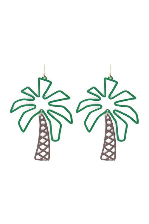 GREEN/BROWN Palm Tree Drop Earrings, image 1