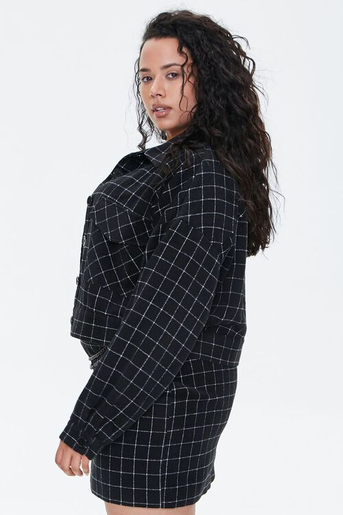 Plus Size Grid Print Jacket, image 2