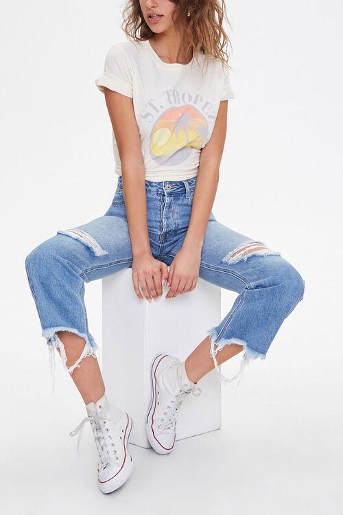 Distressed Straight-Leg Jeans, image 1
