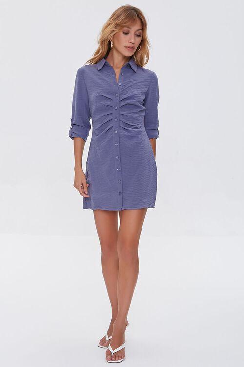 BLUE Ruched Mini Shirt Dress, image 4