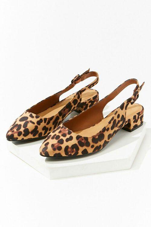 BLACK/BROWN Leopard Print Slingback Heels, image 3