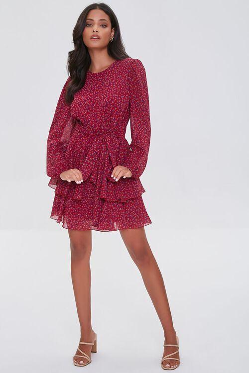 BURGUNDY/MULTI Ditsy Floral Print Chiffon Mini Dress, image 4