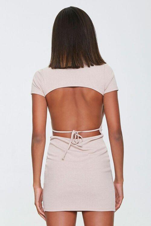 TAUPE Ribbed Open-Back Mini Dress, image 3