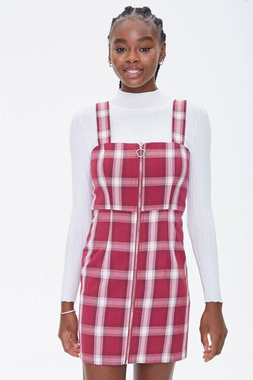 Plaid Zippered Overall Dress, image 5