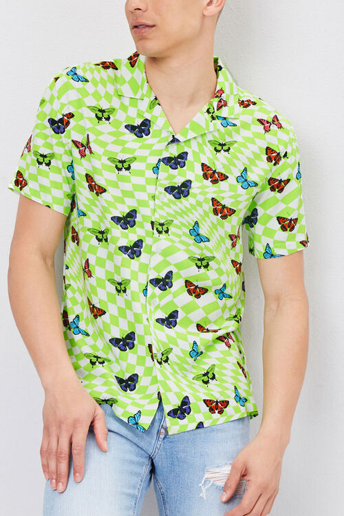 Classic Fit Checkered Butterfly Shirt, image 1