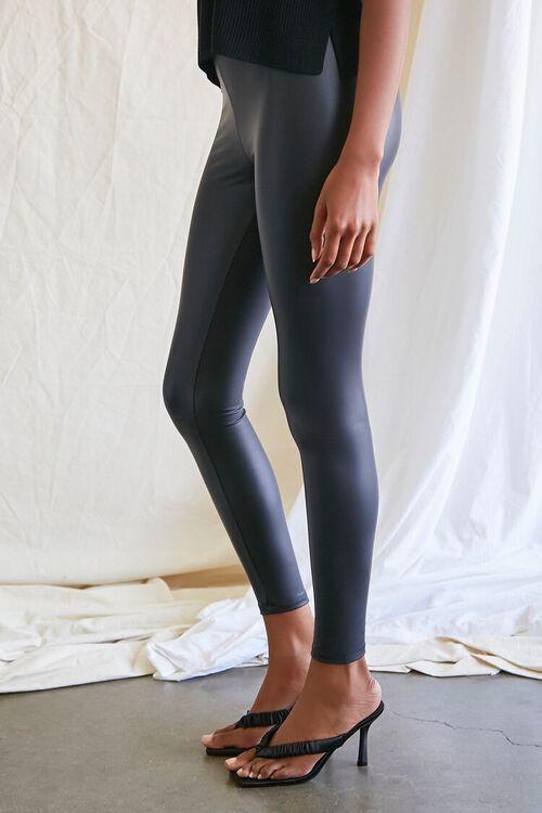 BLACK Faux Leather High-Rise Leggings, image 3