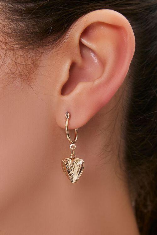 Heart Pendant Drop Earrings, image 1