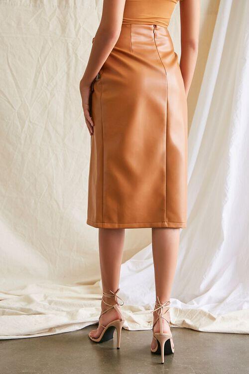 Faux Leather Midi Skirt, image 4
