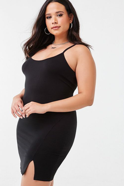 BLACK Plus Size Slit Cami Dress, image 1