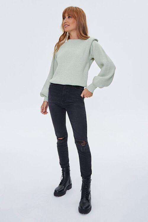 Ribbed Shoulder-Pad Sweater, image 4