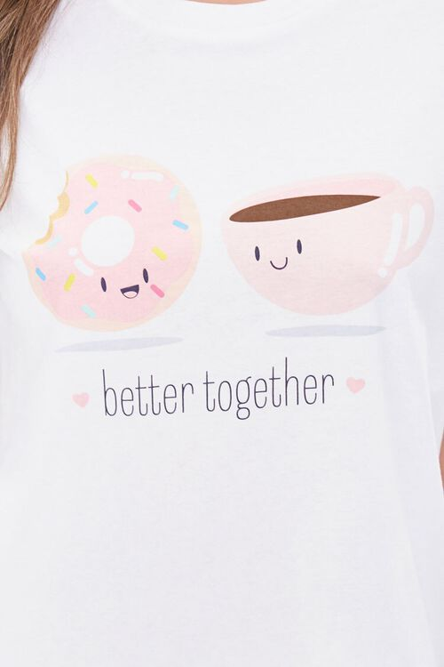 WHITE/BLUE Doughnut & Coffee Tee & Shorts Pajama Set, image 5