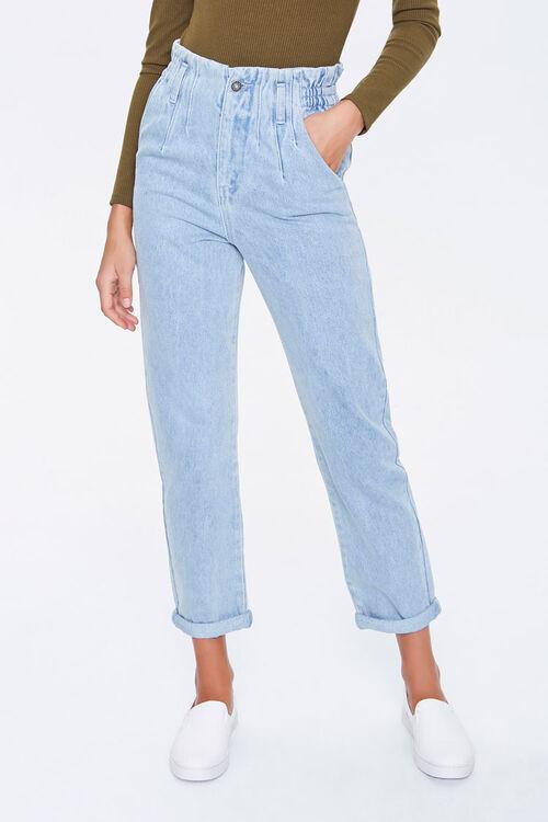 DENIM WASHED Paperbag Mom Jeans, image 2