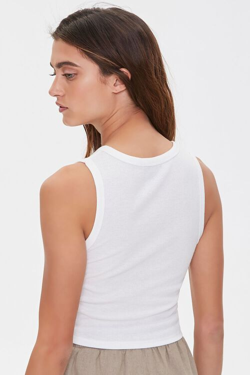 WHITE Ribbed Knit Crop Top, image 3