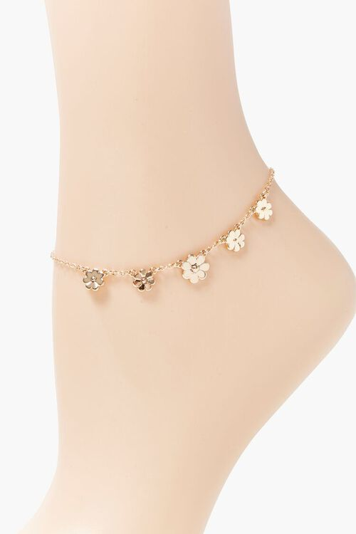GOLD Daisy Charm Anklet, image 2