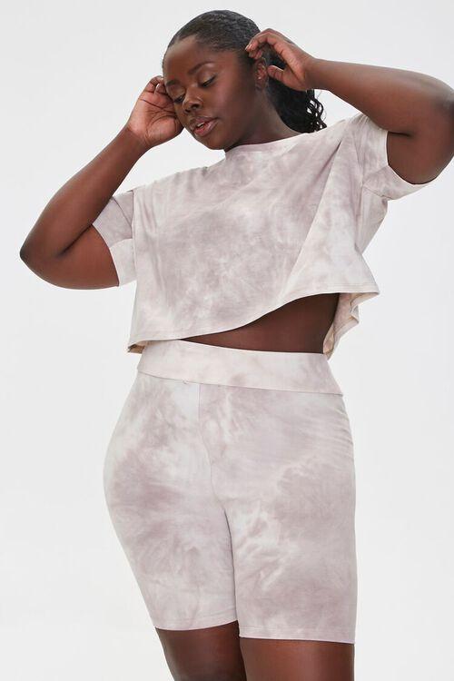 TAUPE/CREAM Plus Size Camo Tee & Shorts Set, image 1