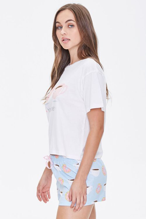 WHITE/BLUE Doughnut & Coffee Tee & Shorts Pajama Set, image 2