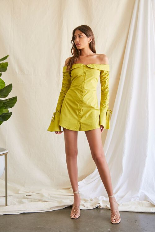 LIME Poplin Off-the-Shoulder Shirt Dress, image 4