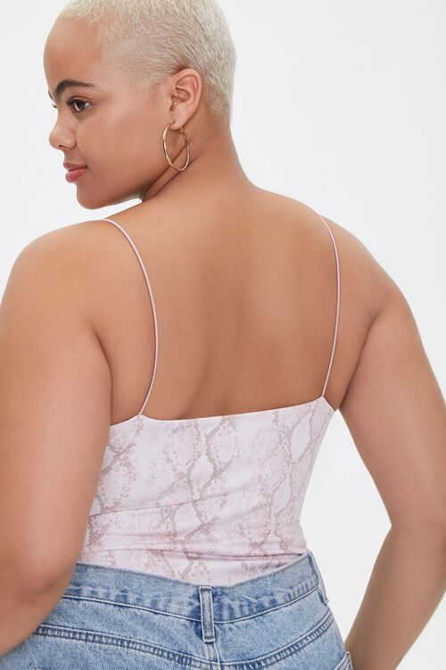 Plus Size Snakeskin Print Bodysuit, image 3