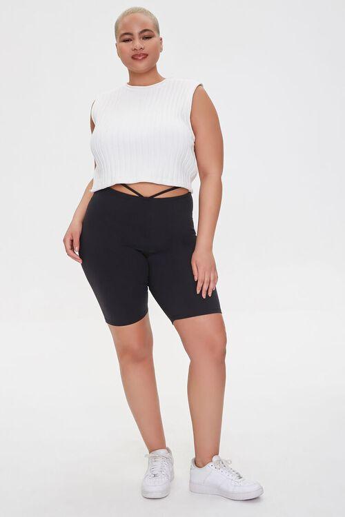 Plus Size Strappy Cutout Biker Shorts, image 5