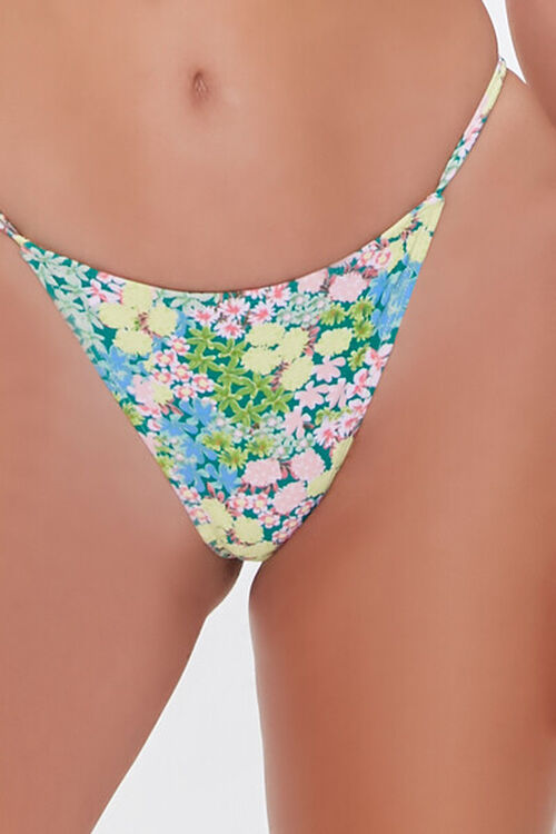 Floral Print String Bikini Bottoms, image 5