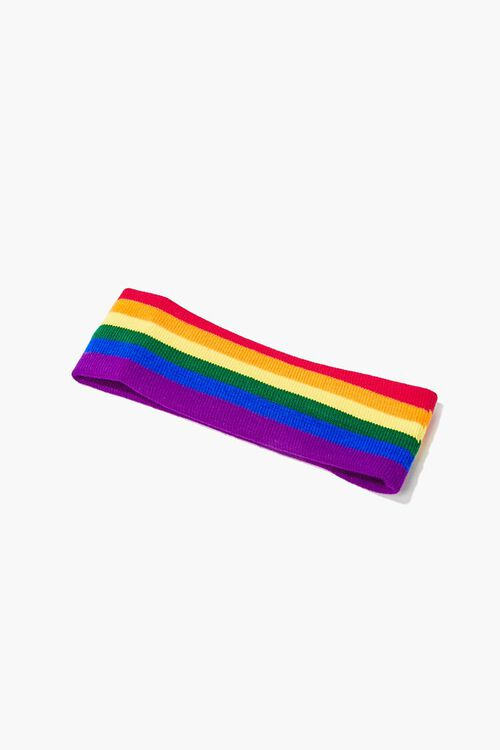 RED/YELLOW Ribbed Knit Rainbow Headwrap, image 1