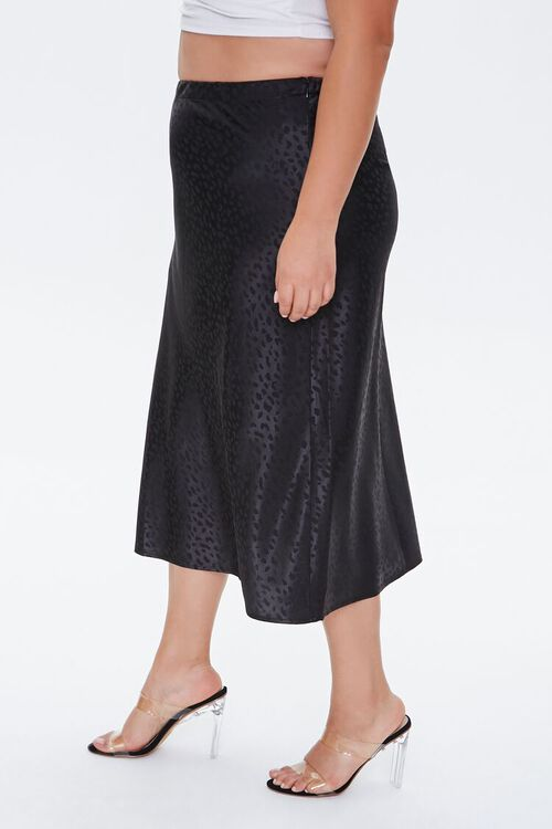 BLACK Plus Size Leopard Print Skirt, image 3