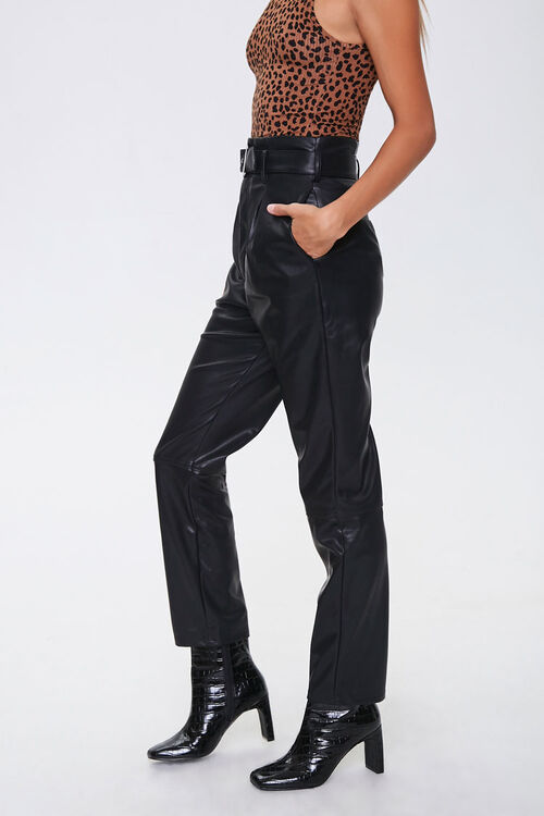 Faux Leather Straight-Leg Pants, image 3