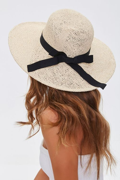 NATURAL/BLACK Faux Straw Bow Ribbon Boater Hat, image 1