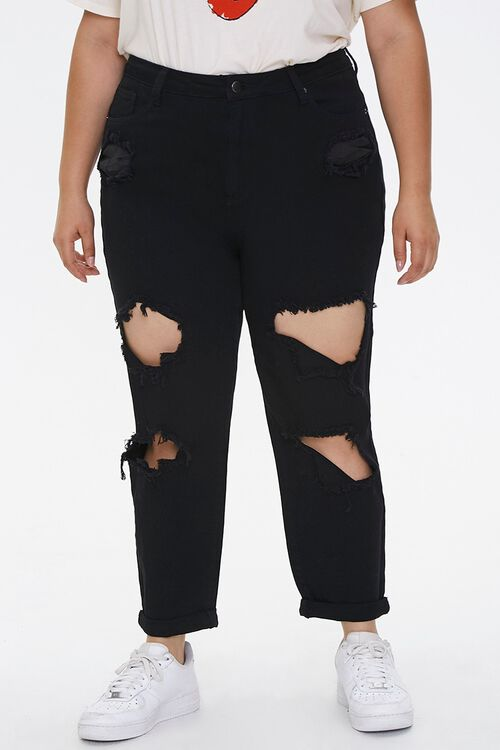 Plus Size Distressed Mom Jeans, image 2