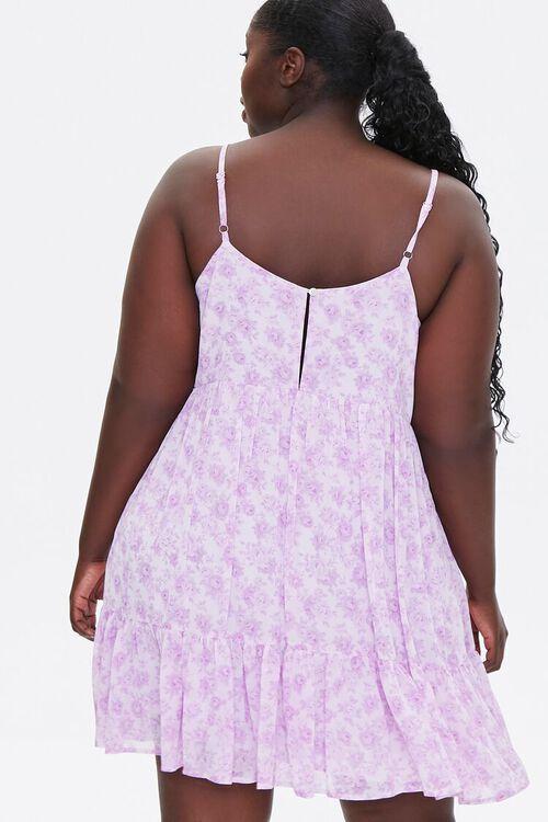 LAVENDER/MULTI Plus Size Floral Flounce-Trim Mini Dress, image 3